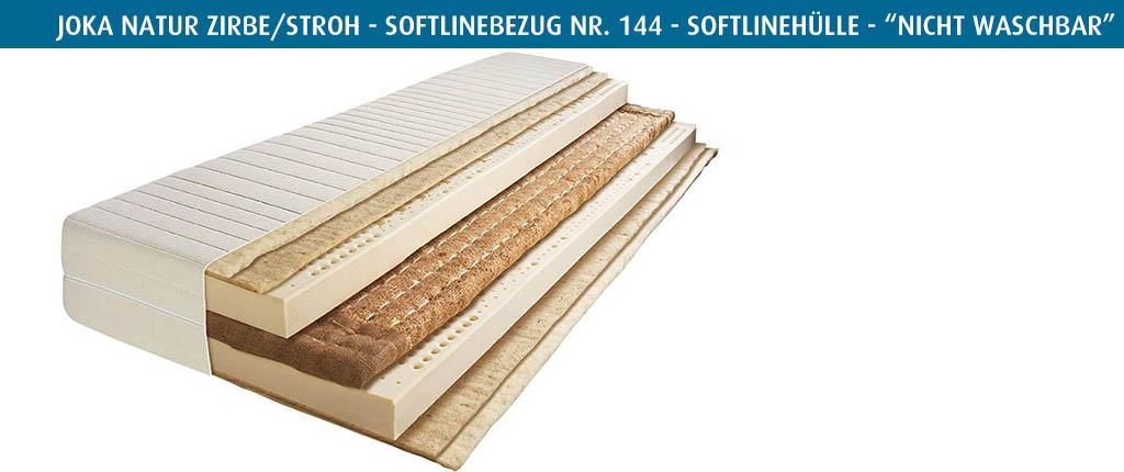 Joka-Natur-Zirbe-Stroh-Matratze-Softlinebezug-Nr-144-vierseitiger-Reissverschluss-nicht-waschbar