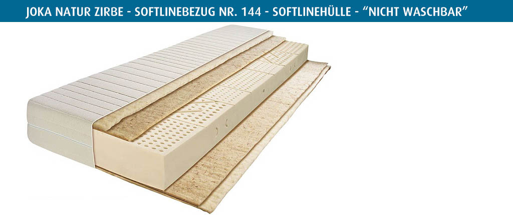 Joka-Natur-Matratze-Zirbe-Softlinebezug-Nr-144-vierseitiger-Reissverschluss-nicht-waschbar