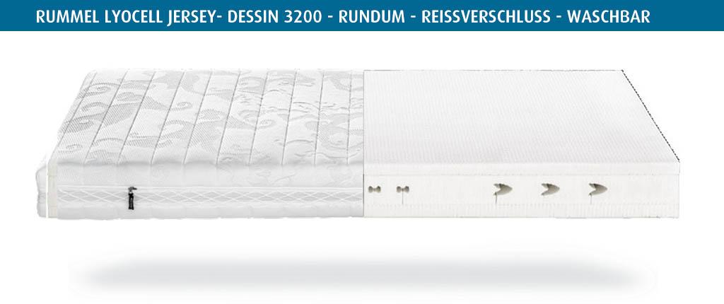 Rummel-MY-600-L-Matratzenbezug-Lyocell-Jersey-Silberausstattung-Dessin-3200-Reissverschluss-waschbar-bis-60-Grad