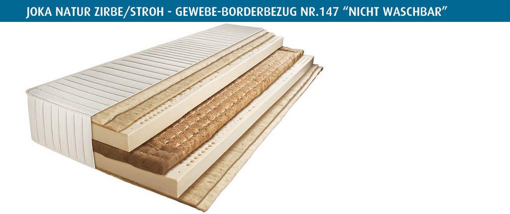 Joka-Natur-Zirbe-Stroh-Matratze-Borderbezug-Nr-147-vierseitiger-Reissverschluss-nicht-waschbar