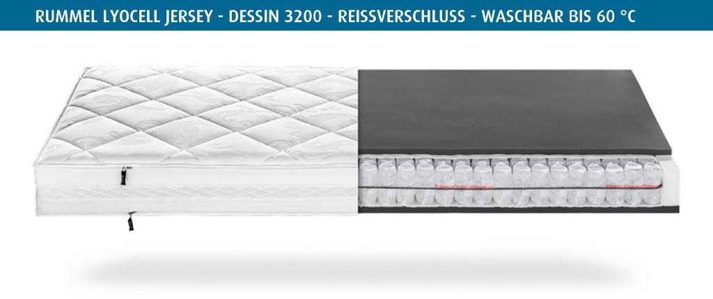 Rummel-MY-300-T-Matratzenbezug-Lyocell-Jersey-Dessin-3200-gebordert-Reissverschluss-waschbar-bis-60-Grad