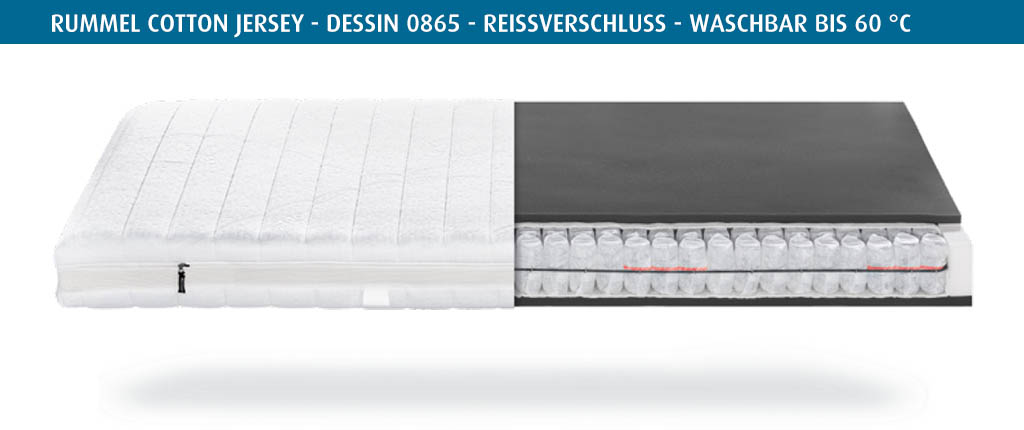 Rummel-MY-300-T-Matratzenbezug-Cotton-Jersey-Dessin-0865-Reissverschluss-waschbar-bis-60-Grad